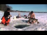 Naked Man Fishing By Diving Under Ice