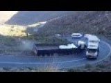 Overheated Semi Blocks Hairpin Mountain Pass And Gets Hit By Another Semi Headed Downhill