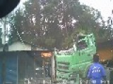 Out Of Control Truck Slams Into House