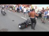 ORIGINAL Swiss Harley Days. Motorcyclist Epic Fail In The Middle Of The Crowd. IL BULLO DI TURNO
