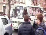 Pro Russian Criminals Attack A Bus Carrying Ukrainian Police Cadets: Kharkiv