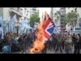 Protesters In Argentina Demand Malvinas Back And Burn UK Flags