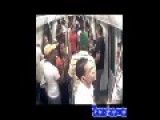 PSYCHO MAN Lights Himself On FIRE = On A Crowded SUBWAY =
