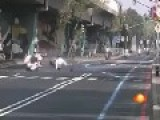 Police Bike Hits Road Bump And