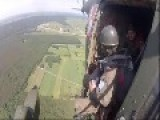 Parachute Jumping From The Helicopter
