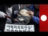 People In South Korea Decapitate Japanese PM Dummy