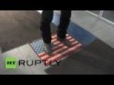 Patriotic Stores In Russia Let Customer Wipe Feet On US Flag Mats