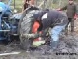 People Use Intelligence To Move Stuck Tractor From Mud