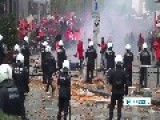 Protesters Clash With Riot Police Near US Embassy In Brussels