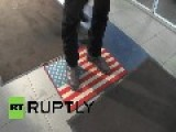 Russia: Shoppers Wipe Their Feet On USA Door Mat