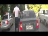 Russian Lady Runs Out Into Traffic Cop Get Her