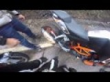 Rider Lays Down And Crashes His KTM 390 Duke
