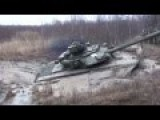 Russian T-90 Tank Stuck And Sunk In The Mud While Trying To Gover