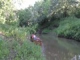 Rope Swinger Misses Water Landing