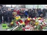 Russians Laying Flowers At The French Embassy In Moscow