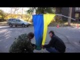 Road Testing New Anti-Burn Ukrainian Flag In Donbass