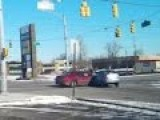 Red Light Runner Crashes Into Car