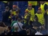Russian Fans Fight With Stewards During CSKA - Roma CL Match