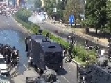 Riot Police Face Off Against Protestors - Cop Injured Throwing Stun Grenade