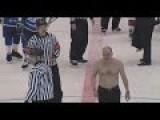 Russian Hockey Coach Loses Shirt In Fight