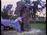 Retro: Man Saws Tree Into Truck Bed