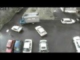 Russian Driver Can't Escape Parking Lot