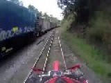Riding Motorcycle On A Railway Tracks Is Never A Good Idea