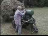 Russian Hay Tractor With Big Load. Pull Starter Motor. Sweet