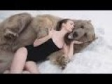 Russian Models Pose Next To Grizzly Bear