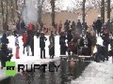 Russia: Red Army Vets Swim In Freezing Conditions For Leningrad Celebrations