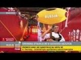 Russian Flag Getting A Warm Welcoming On Volleyball World Cup 2014