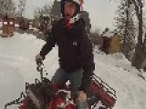 Romping A 3 Wheeler In Snow