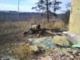 Russian Don Cossacks Firing Recoilless Rifle At Emergency Building Donetsk Airport