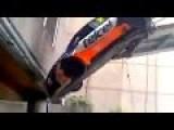 Rally Car Falls Off Lift