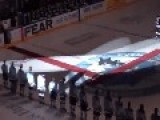 SINGER Trips On ICE While Singing CANADIAN National Anthem = During HOCKEY GAME =