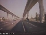 Speeding Car On Motorway Takes Out Another And Flips