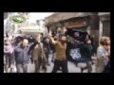 Syria Aleppo - Moderate Rebels Financed By The West Demonstrate With ISIS Flags