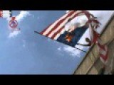 Syrian Rebel Demonstration Burns American Flag In Homs Countryside