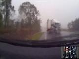 SUV Hit By A Jackknifing Semi Truck