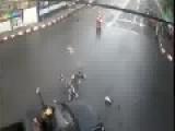 Scooter Rider Goes Head Over Heels