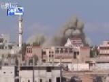 Syrian Army Air Froce Hit Terrorists In Idlib With A Huge Barrel Bomb. Footage Includes Aftermath