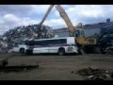 Shredding A Bus With A Giant Crawler Crane