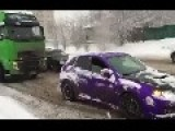 Subaru Towing Truck On Icy Russian Road
