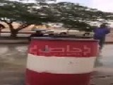 Saudi Man Is Swimming In A Flooded Sewer In Middle Of The Road