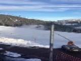 Skiers Get Sprayed By Snow Foam