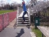 Skateboarder Wipes Out Off Bleachers