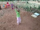 Swinging Little Girl Crashes Into Sister