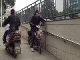 Scaring Chinese With Squeaky Scooter Prank