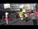 SpongeBob And Hello Kitty Fighting In The Center Of Madrid