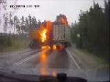Semi-Trailer Truck Explosion Caught On Dashcam